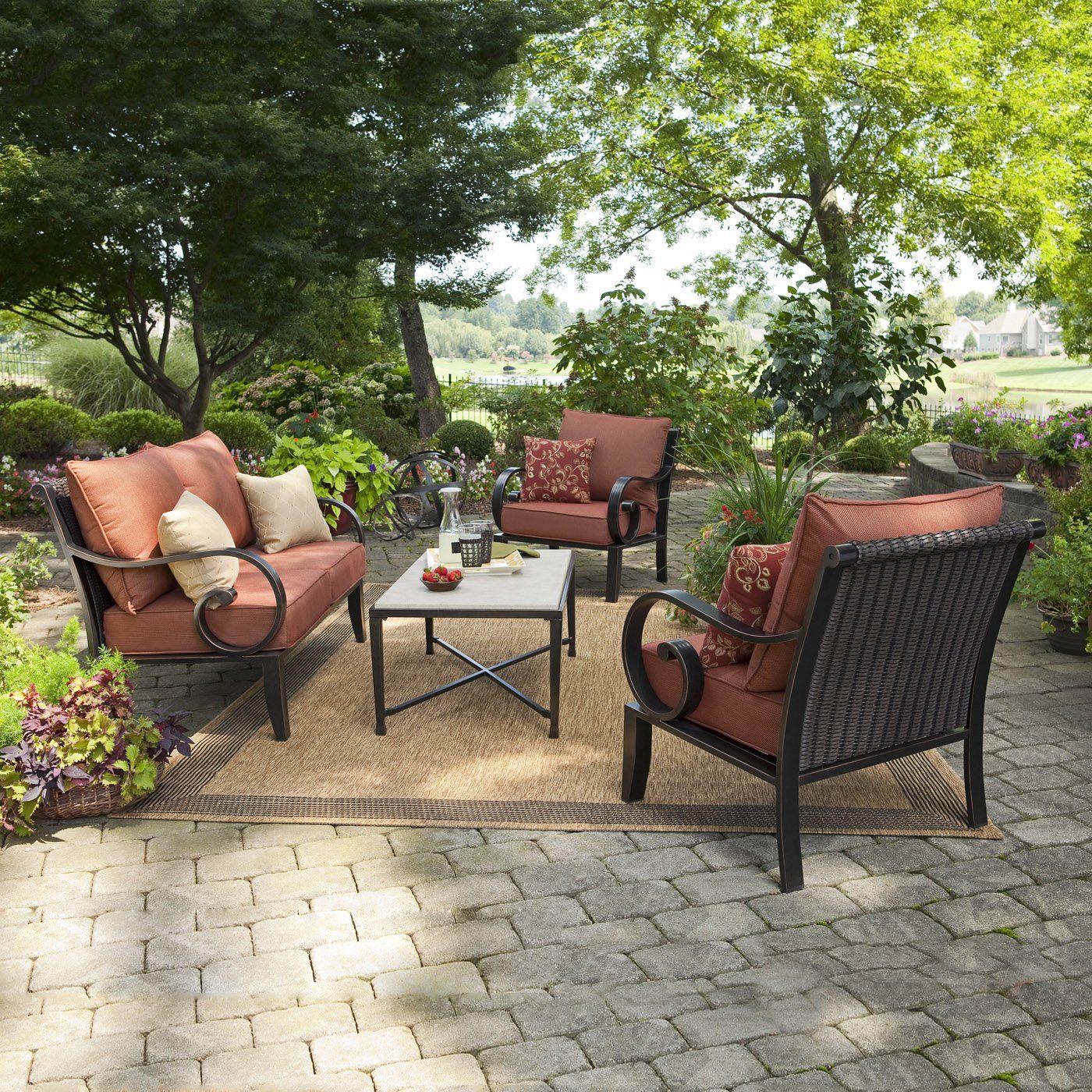 Allen Roth Pardini 4 Piece Outdoor Conversation Set Conversation Set Patio Red Patio Allen Roth Patio Furniture
