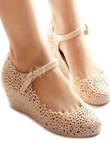 Hollow Out Round Toe Women's Jelly Shoes