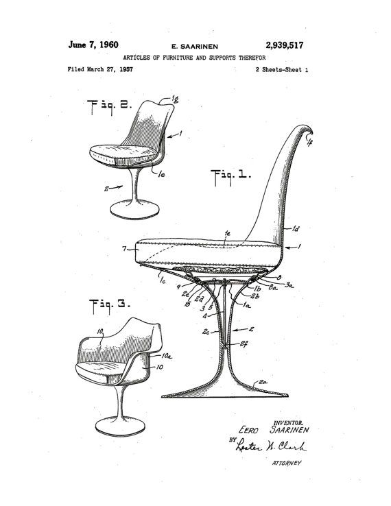 Print of original patent application rendering submitted