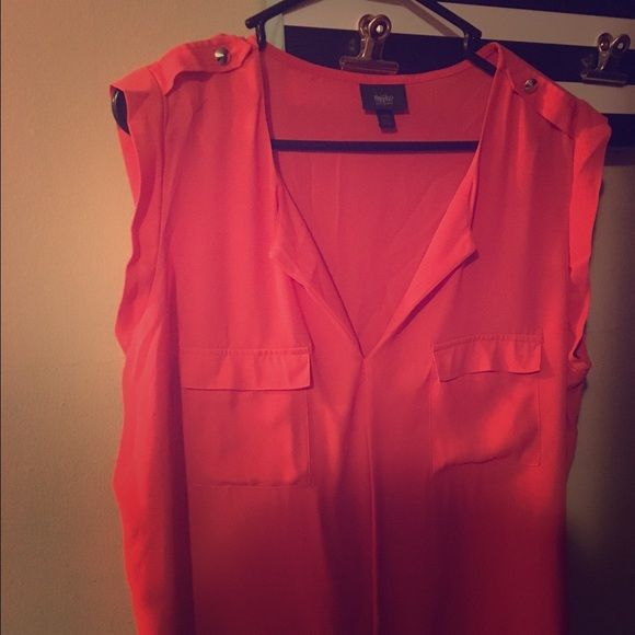 NWOT Orange blouse with studs on Shoulder New Never been worn blous with double pockets. Beautiful color Mossimo Supply Co Tops Blouses