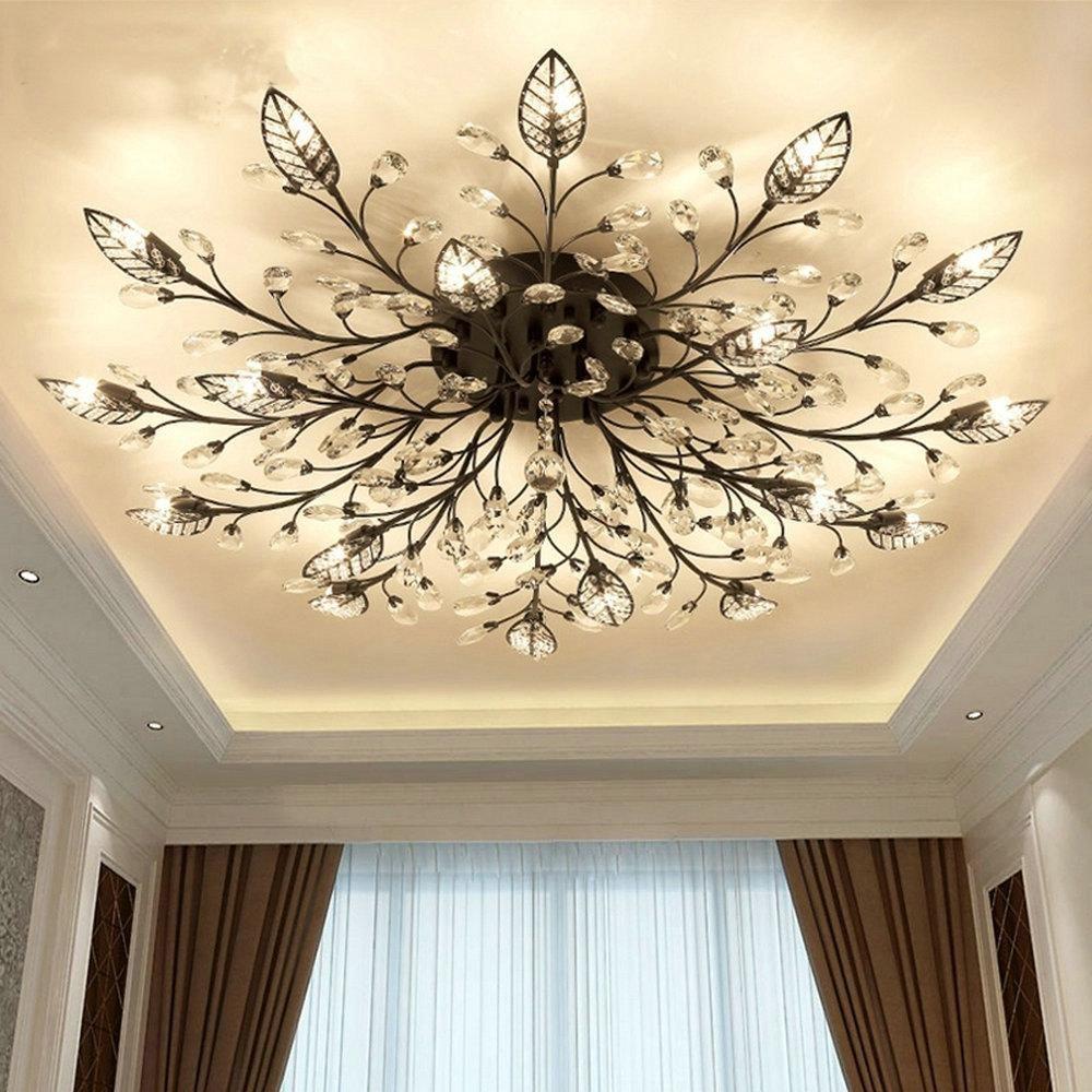 Modern Flush Mount Home Gold Black LED K11 Crystal Ceiling