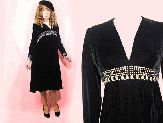 Vintage Black Velvet Long Sleeve Party Dress, Rhinestone