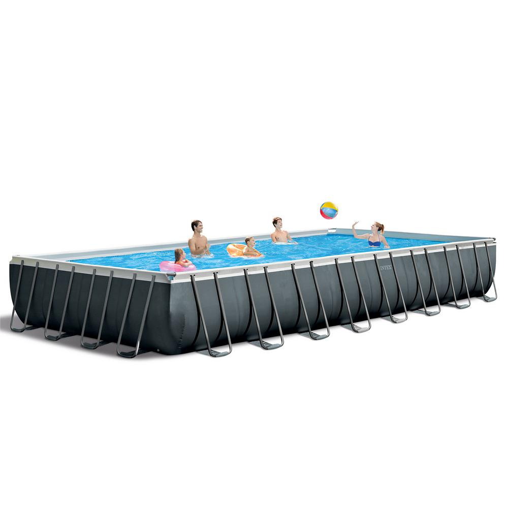 Intex 32 Ft X 16 Ft X 52 In Ultra Xtr Rectangular Above Ground Swimming Pool Set Gray 26373eh The Home Depot Rectangular Swimming Pools Above Ground Swimming Pools Intex Swimming Pool
