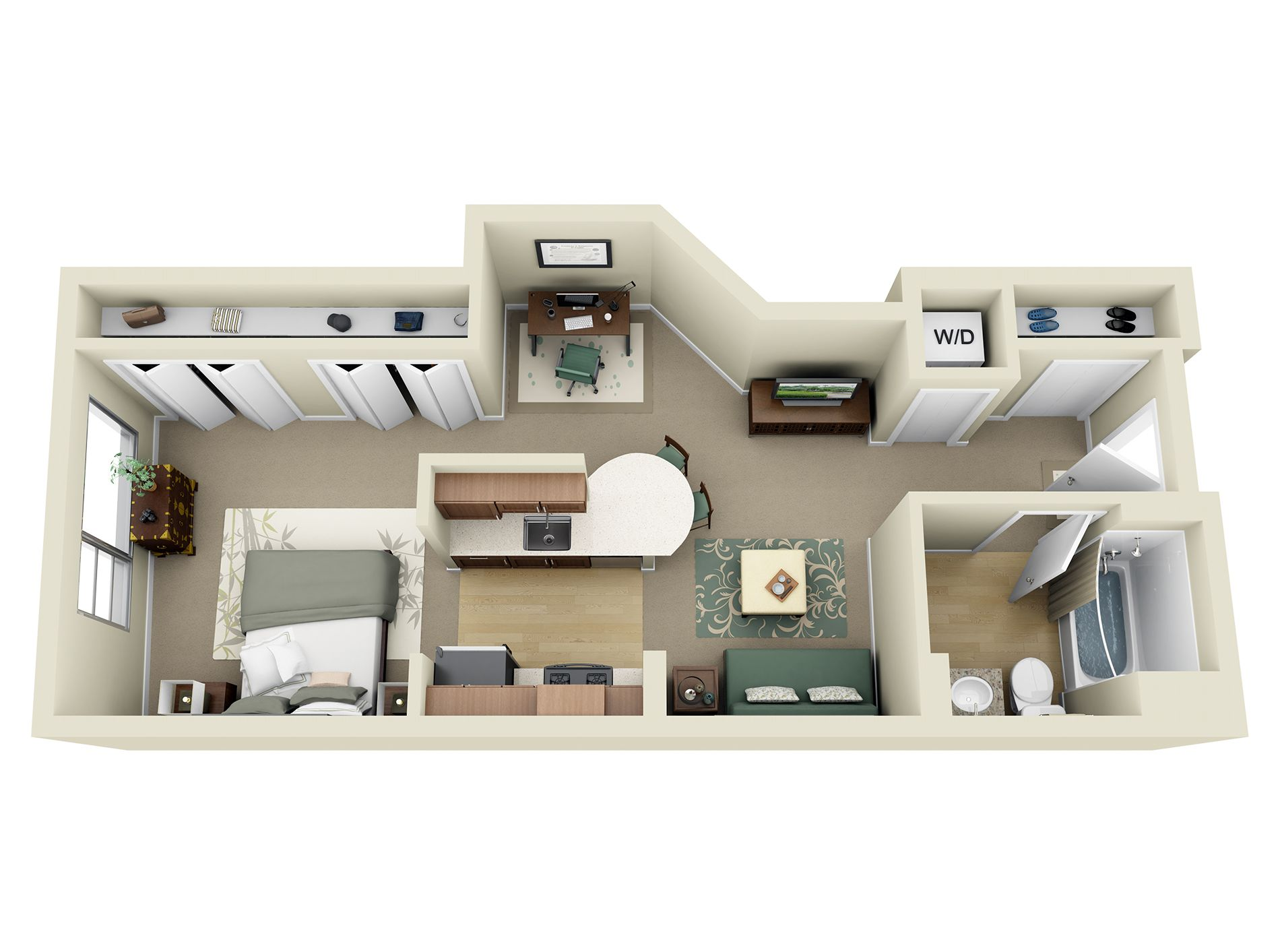 Studio 1 2 And 3 Bedroom Apartments In Los Angeles Apartment Layout Bedroom Apartment Apartment Floor Plans