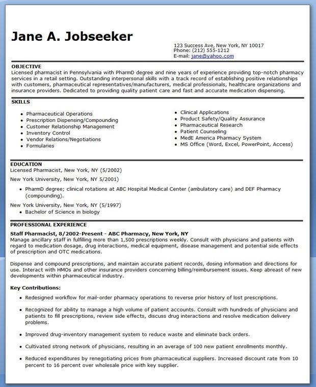 Pharmacist Resume Sample Creative Resume Design Templates Word - pharmacist resume