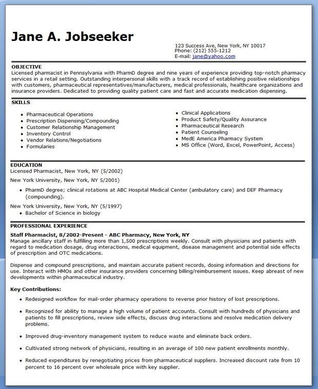 Pharmacist Resume Sample Resume Downloads Job Resume Examples Resume Resume Design Template