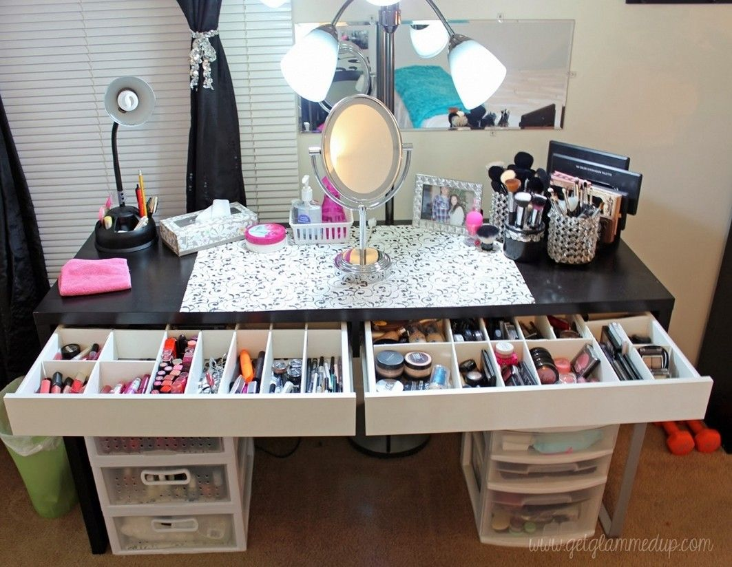 Bedroom Divine Make Up Desk Ideas With Vanity Mirrored Desk Makeup Desk  Organizer