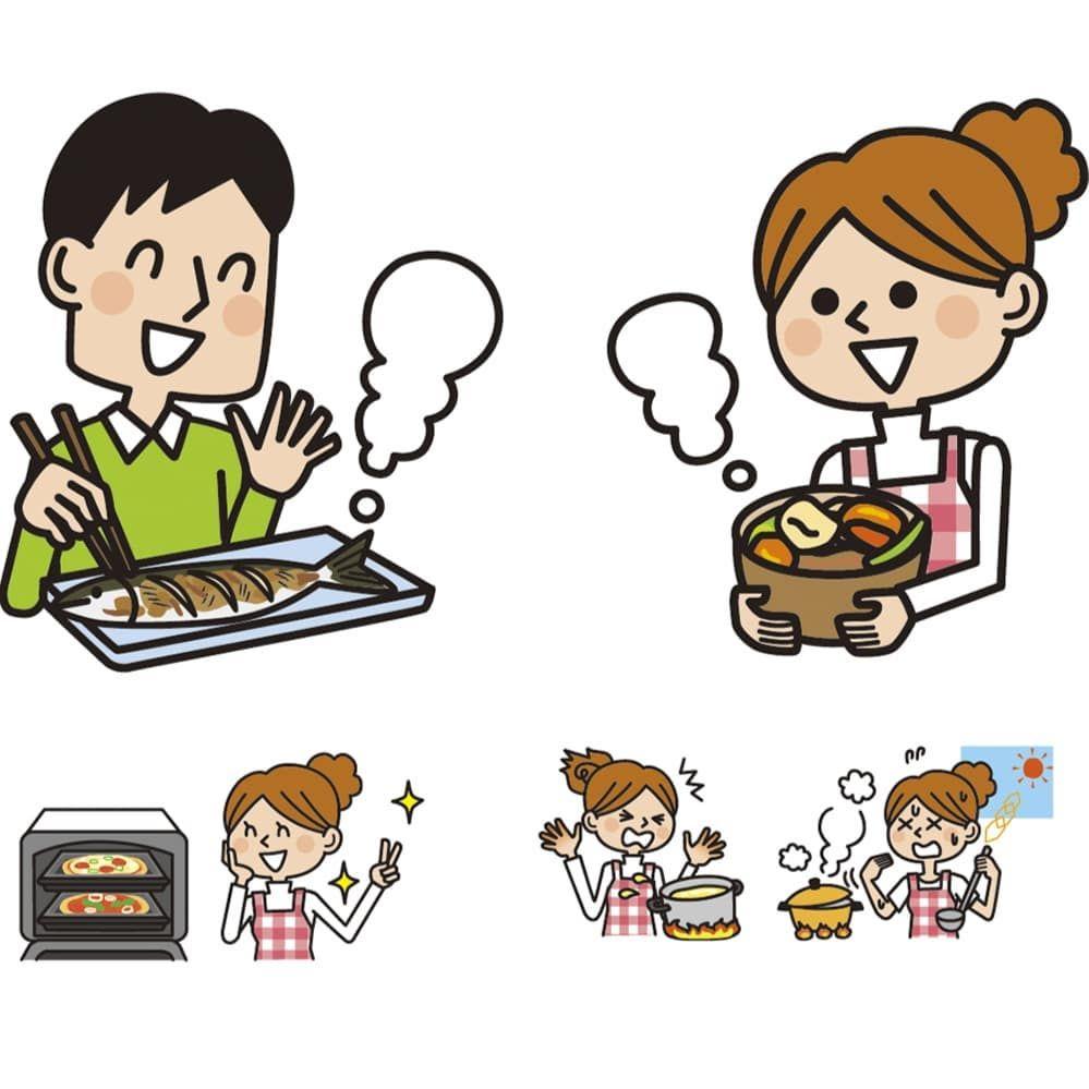 オーブンレンジで料理している主婦や男性のイラスト描きました イラストレーター
