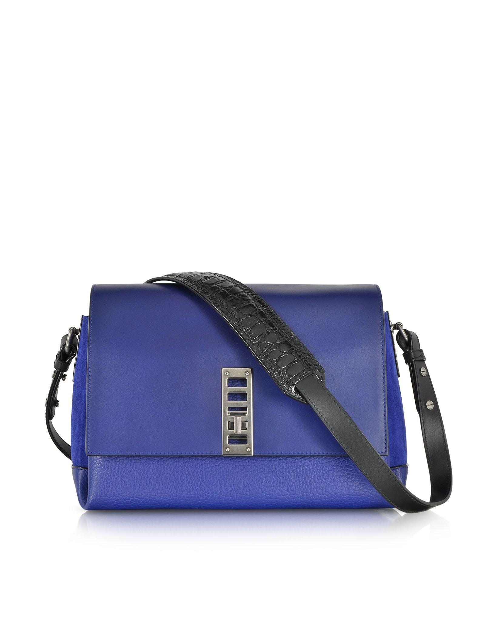 f3c841bec31f4 Proenza Schouler Dark Blue PS Elliot Leather and Suede Crossbody Bag at  FORZIERI