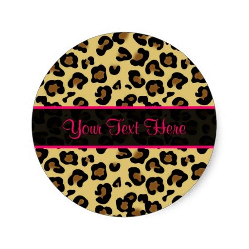 Pink Leopard Print Personalized Stickers