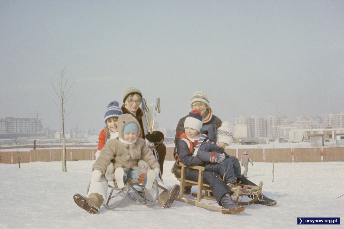 Vintage Photo Winter Sleigh Children Playing In The Snow Warszawa Ursynow Prl 1986 87 Zima Gorka Osiedlowa Rogal Fot Pp Szu Warsaw Ursynow Animals