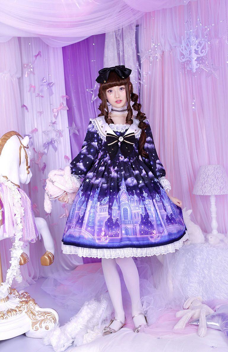 洛丽塔op_Moonlight Forest -Fantasy Castle- Long Sleeves Sailor Lolita OP Dress | Op dress ...