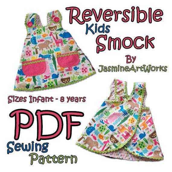 Reversible Kids Smock Apron PDF Sewing Pattern | Pdf sewing patterns ...