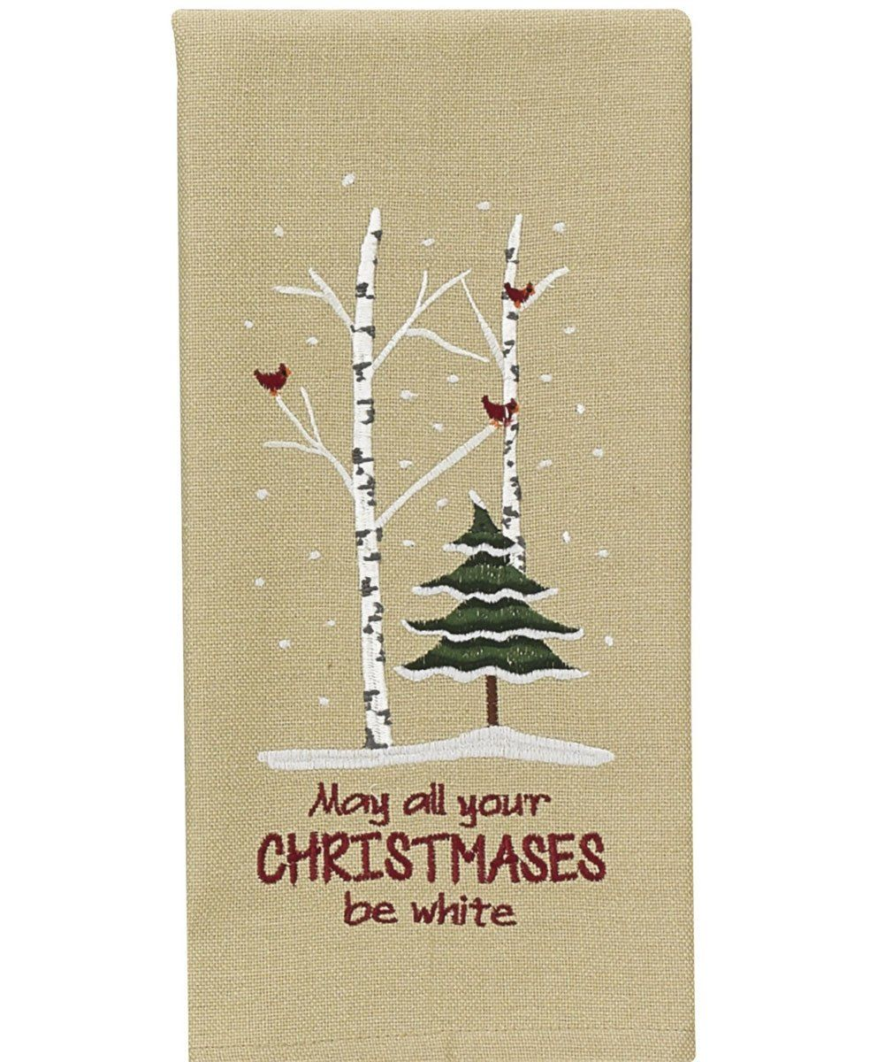 """May All Your Christmas Be White Dishtowel Decorative Cotton w. Embroidery. 82-970 18"""" x 28"""""""