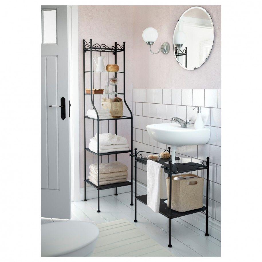 Apartments Classic Bathroom Design Ideas With Black Metal Bathroom Shelving Units Also White Lamin Ikea Bathroom Bathroom Shelving Unit Ikea Bathroom Storage
