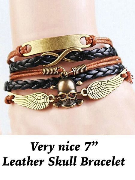 Bracelet: 7  Leather with Skull Charm Very nice 7  plus leather bracelet with skull charm Note: Due to lighting effects with photography, monitor age, settings for color, contrast, etc., there may be differences in the colors of our website photo and the actual item.Sizes are approximate and may vary. **CLICK ON PICTURES TO ENLARGE**   https://nemb.ly/p/HJhjl78ge Happily published via Nembol