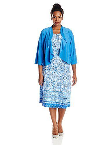 danny nicole womens plus size two piece ruffle jacket dress set
