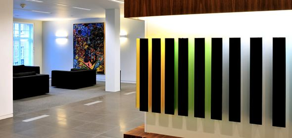 Modern office interior design stenham illuminated wall for Office wall interior