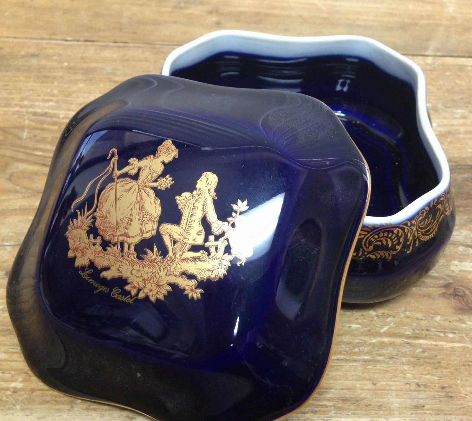 marquis porcelaine limoges castel france cobalt blue gold covered trinket box pinterest blue. Black Bedroom Furniture Sets. Home Design Ideas