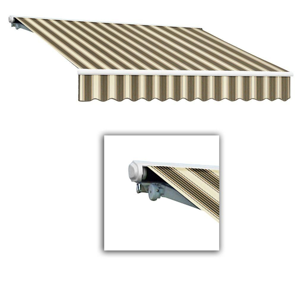 Awntech 12 Ft Galveston Semi Cassette Left Motor With Remote Retractable Awning 120 In Projection In Brown Tan Multi Scl12 458 Brcr Retractable Awning Galveston Diy Patio