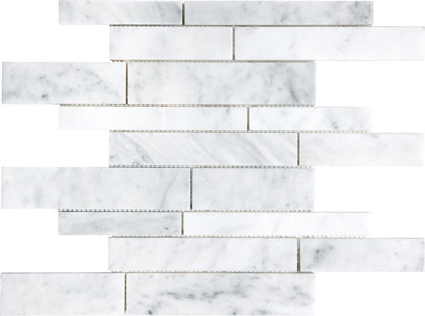 Bianco Venatino Random Strip Mosaic Marble Tile New Kitchen