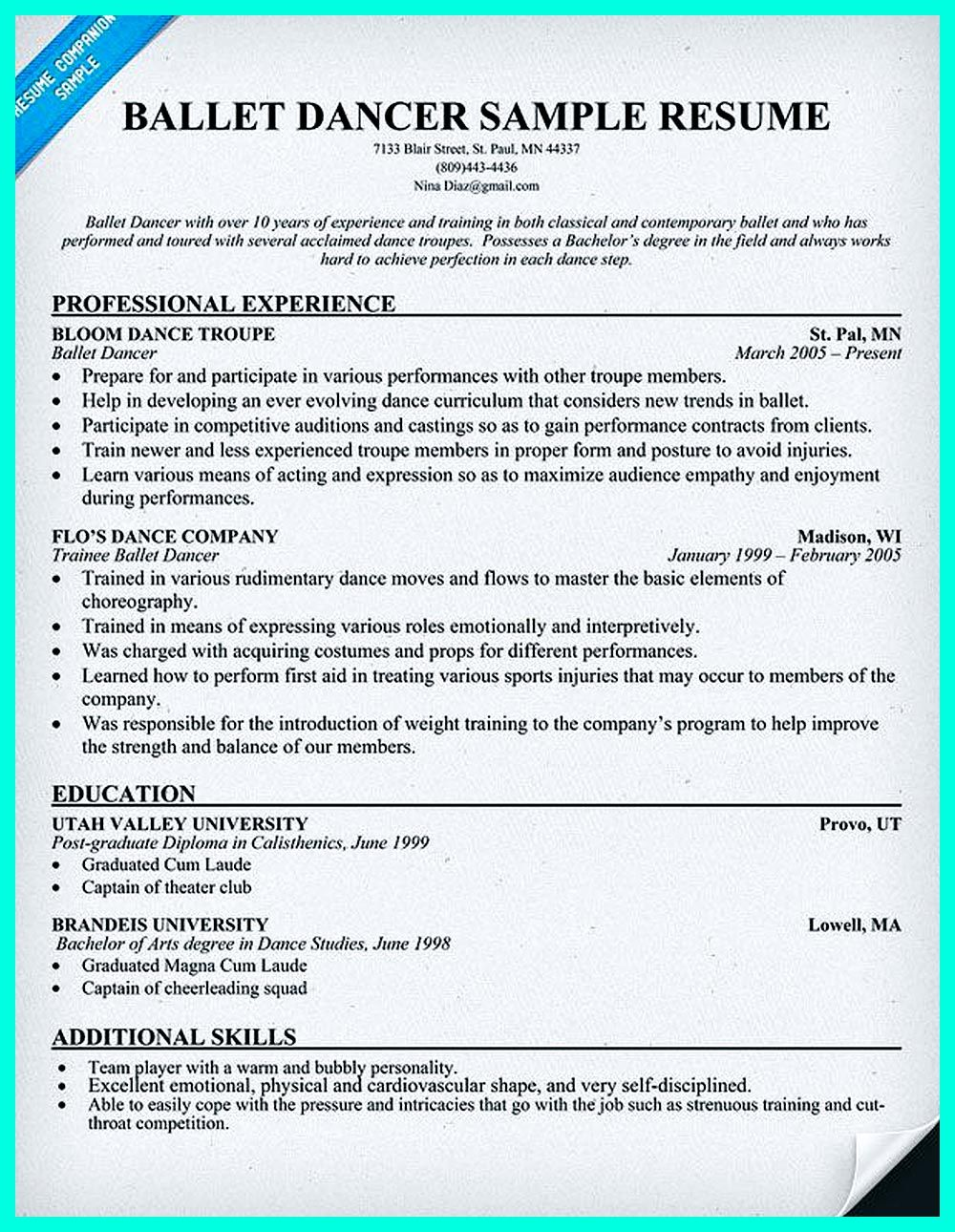 Dance Resume Can Be Used For Both Novice And Professional Dancer Most Job Of Dancer Has Minimum Requirement Dance Resume Artist Resume Teacher Resume Examples