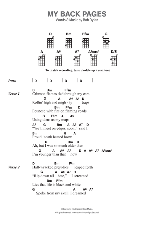 Bob Dylan 'My Back Pages' Sheet Music, Notes & Chords in