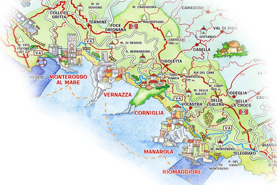 Pin on Italia 2017 Map Of Cinque Terre Villages on coastline of cinque terre map, tuscany vineyards map, italy map,