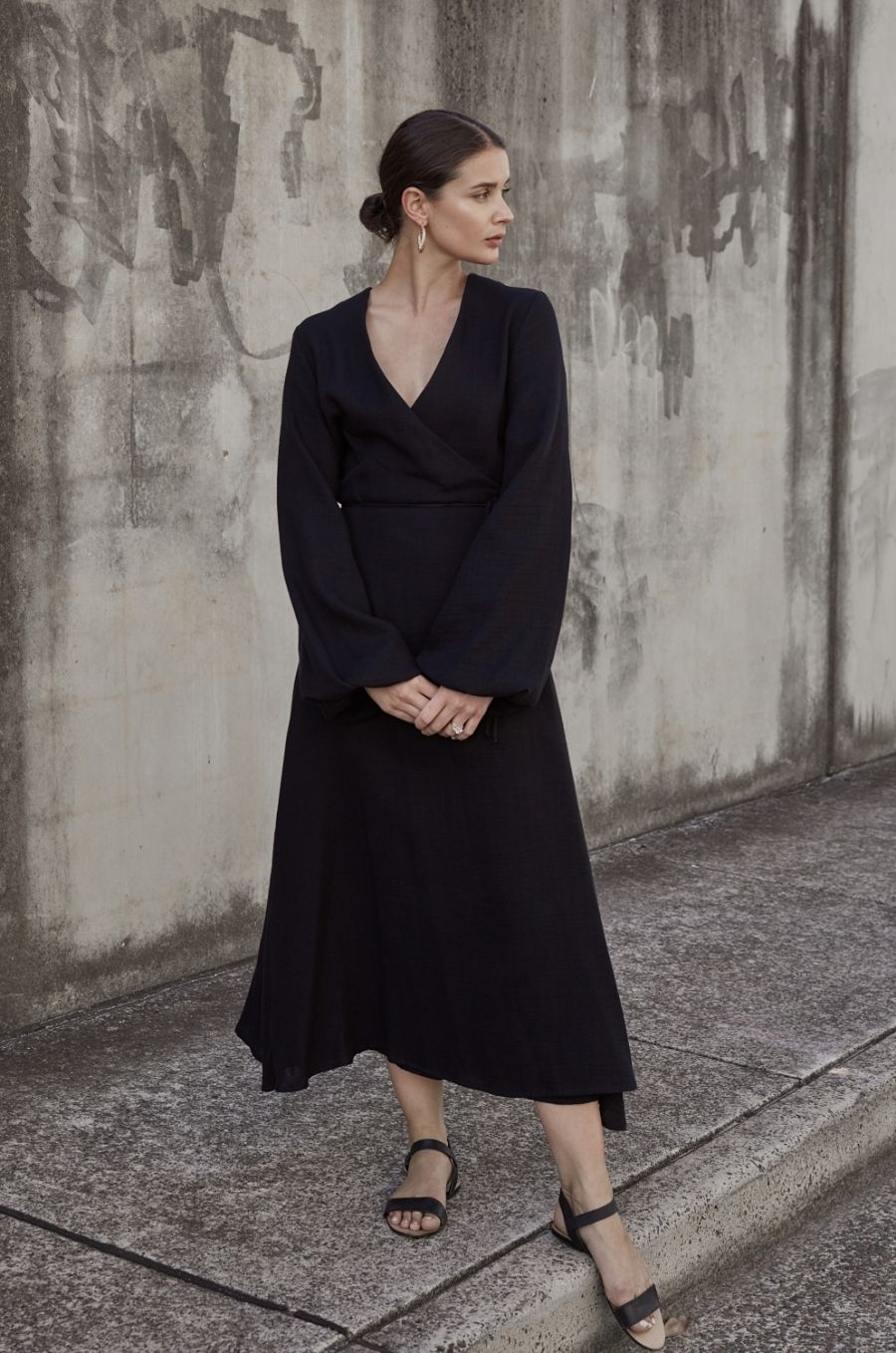 Black wrap dress matin studio the undone street style outfit