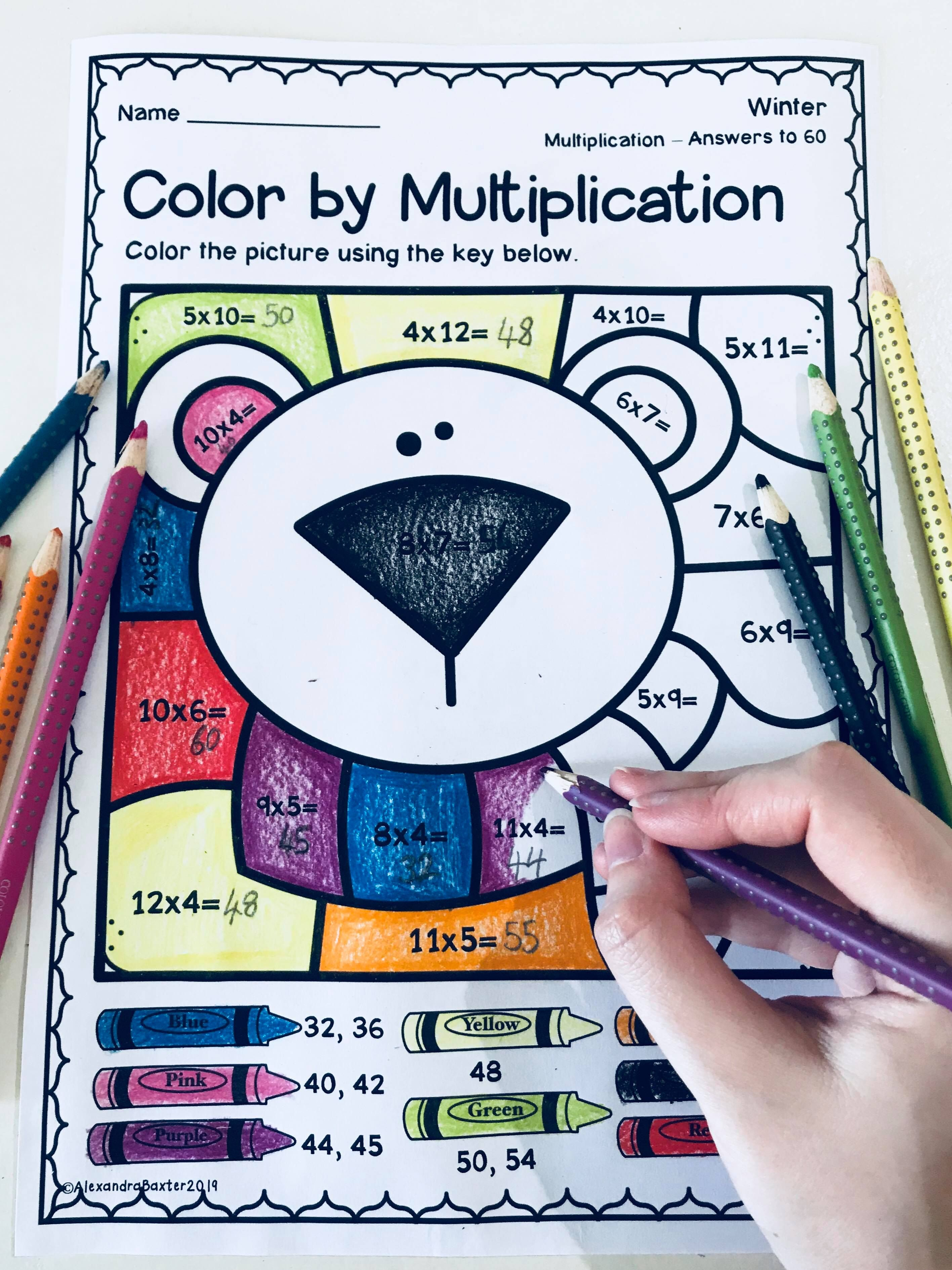 Winter Color By Multiplication Worksheets