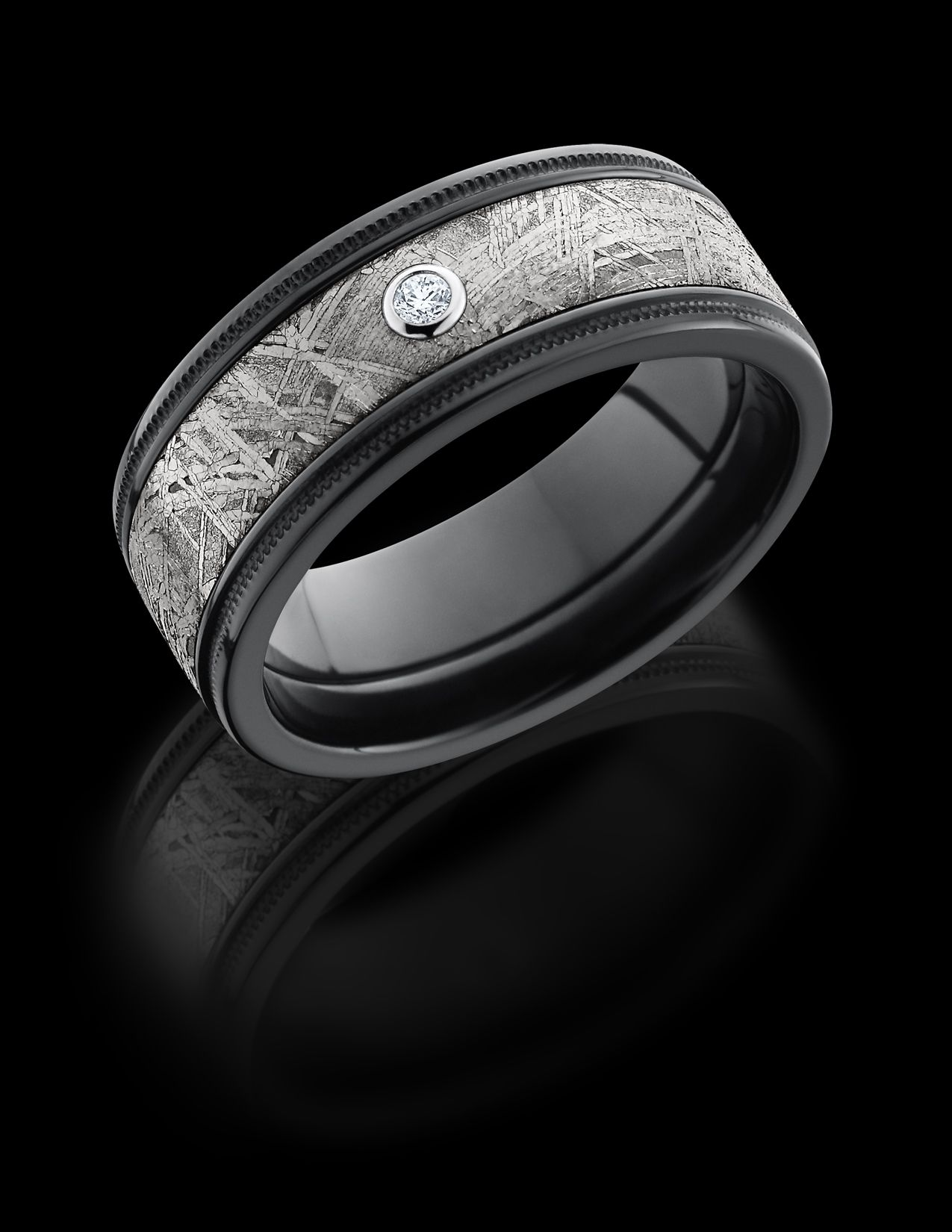 Gibeon Meteorite ring lined in stepped edge Black