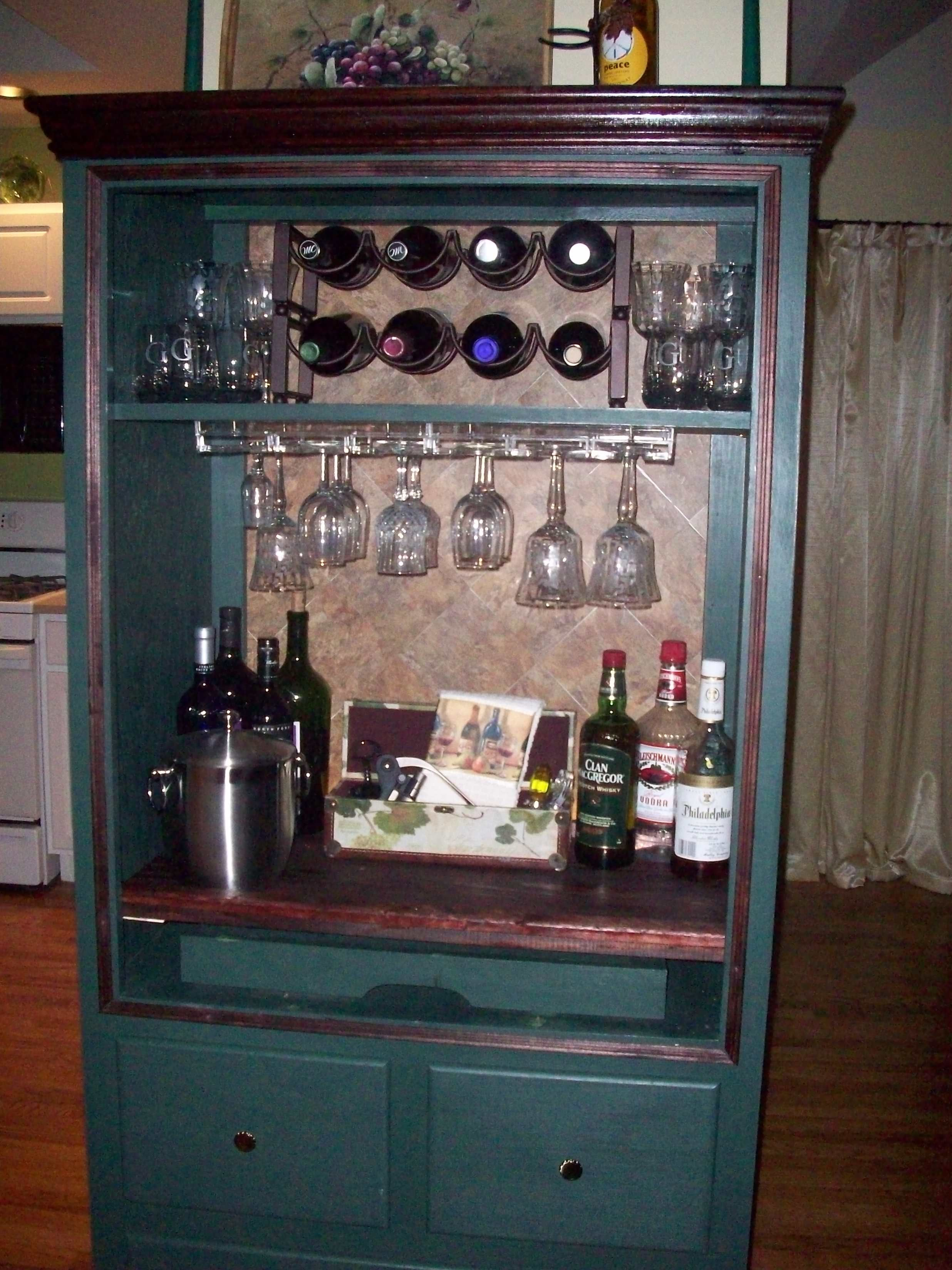 Bar I Made From Armoire I Found On Craigslist Armoire Bar Armoire Repurpose Wine And Liquor Cabinets