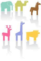 Angular Wild Animals vector art illustration