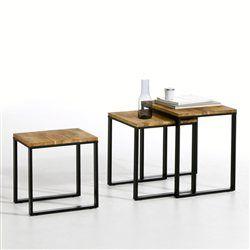 table gigogne noyer massif about et acier lot de 3 hiba la redoute meja unik pinterest. Black Bedroom Furniture Sets. Home Design Ideas