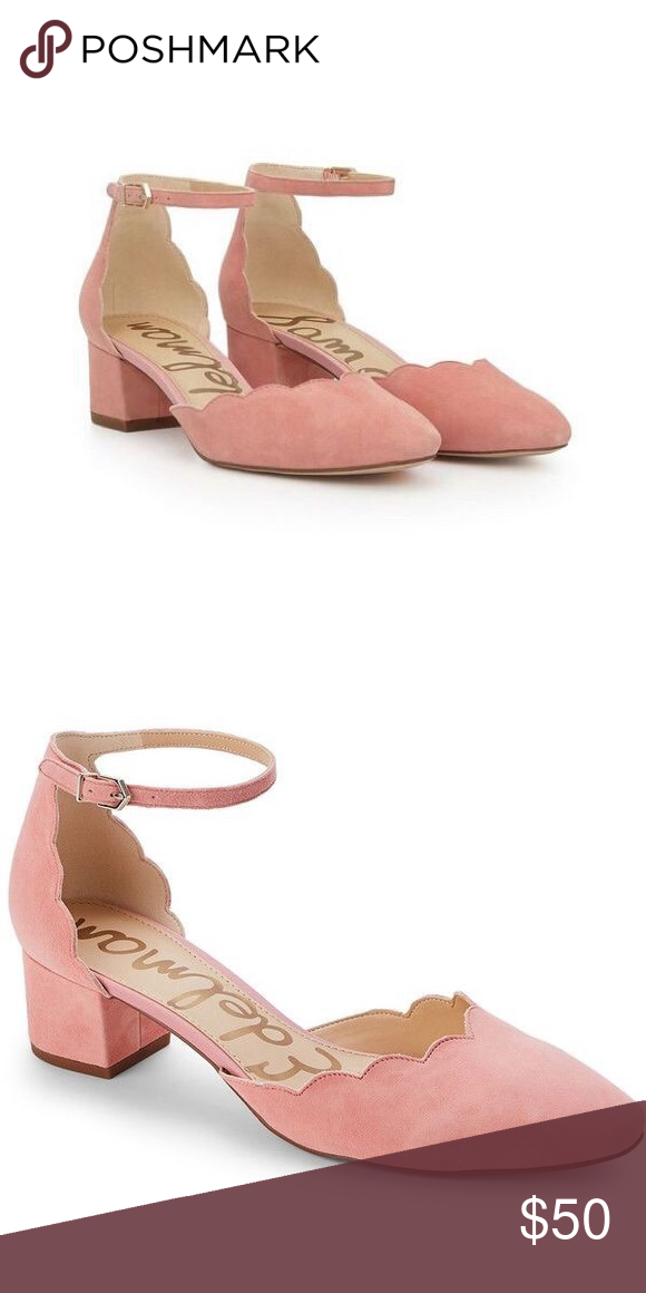 "031b32696337 Sam Edelman ""Lara"" Scalloped Block Heels Cute pink scalloped blocker heels.  Adjustable strap. Upper leather. Made in China. Heel  2"". More pictures  soon."