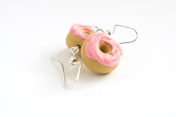 Donut Earrings with Pink Frosting // Polymer by ButtercupCharms, $14.00