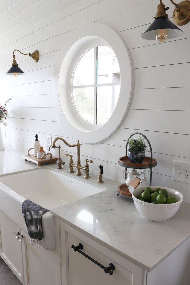 Shiplap Kitchen: Planked Walls Behind Sink & Stove | Dream ...