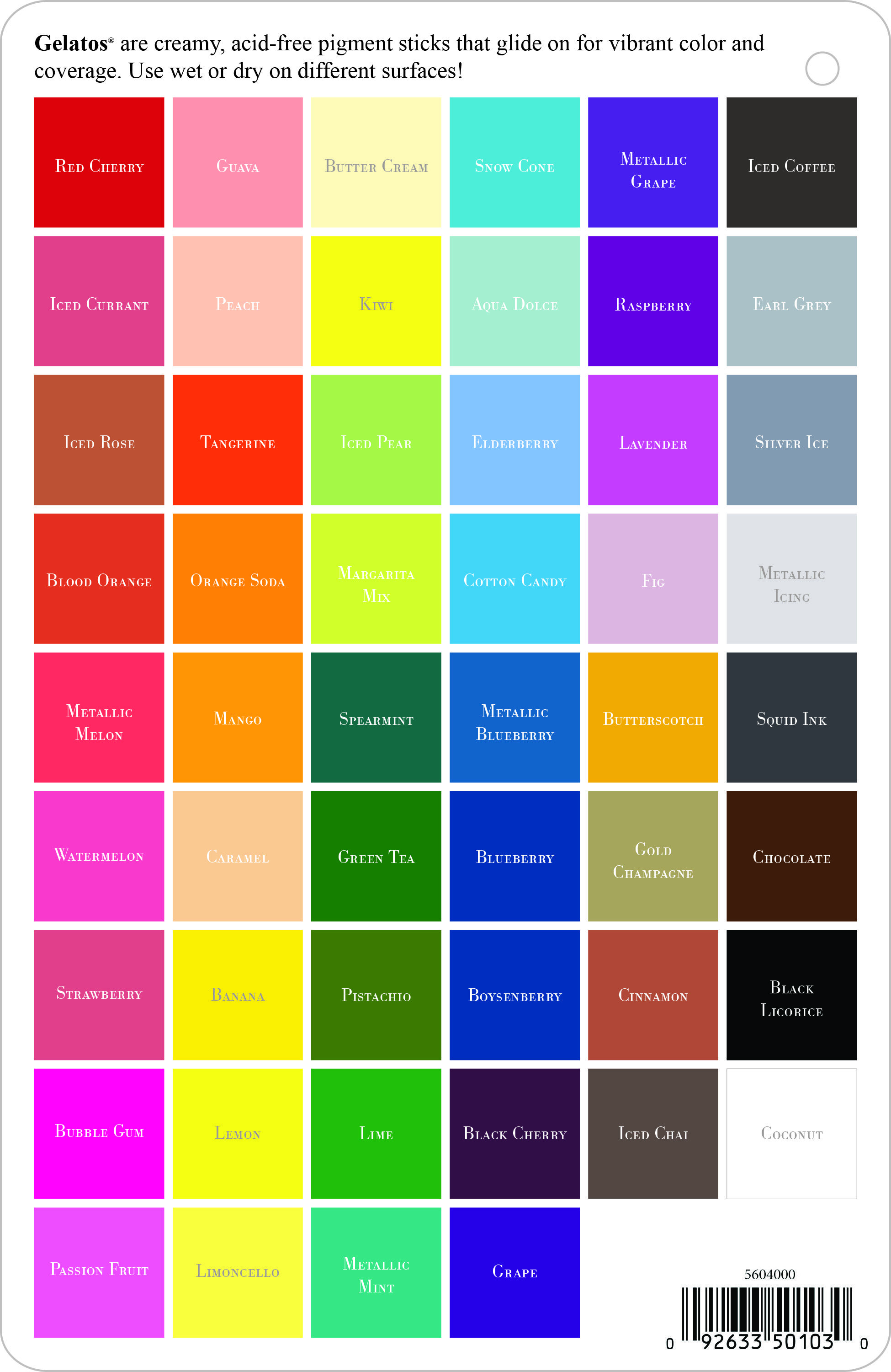 A Complete List Of All The Gelatos Colors By Faber-Castell