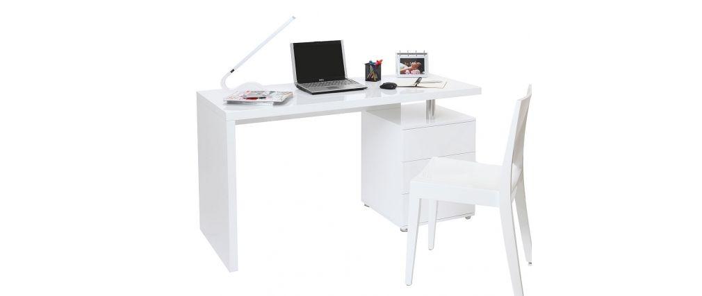 Bureau design blanc laqué 3 tiroirs CALIX - Miliboo