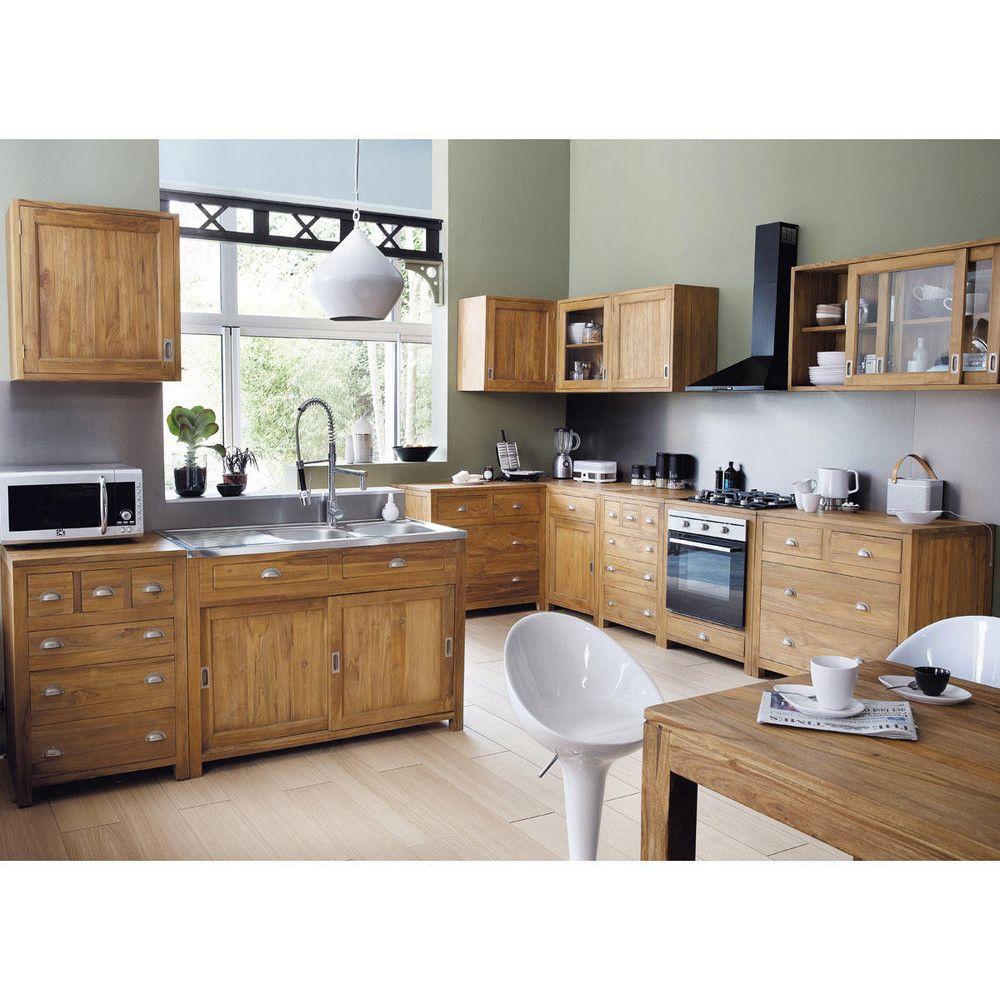 Meuble Haut De Cuisine En Teck Massif L Cm Amsterdam Maisons - Meuble bas de cuisine 120 pour idees de deco de cuisine