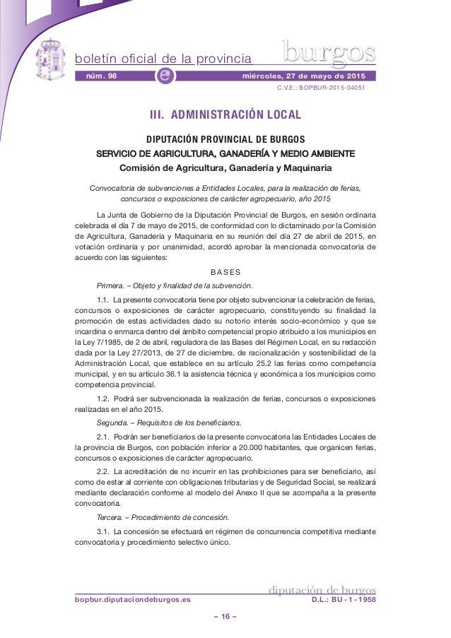 Convocatoria de subvenciones a Entidades Locales, para la realización de ferias, concursos o exposiciones de carácter agropecuario, año 2015
