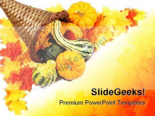 Cornucopia Border Nature PowerPoint Template 1010 #PowerPoint - nature powerpoint template