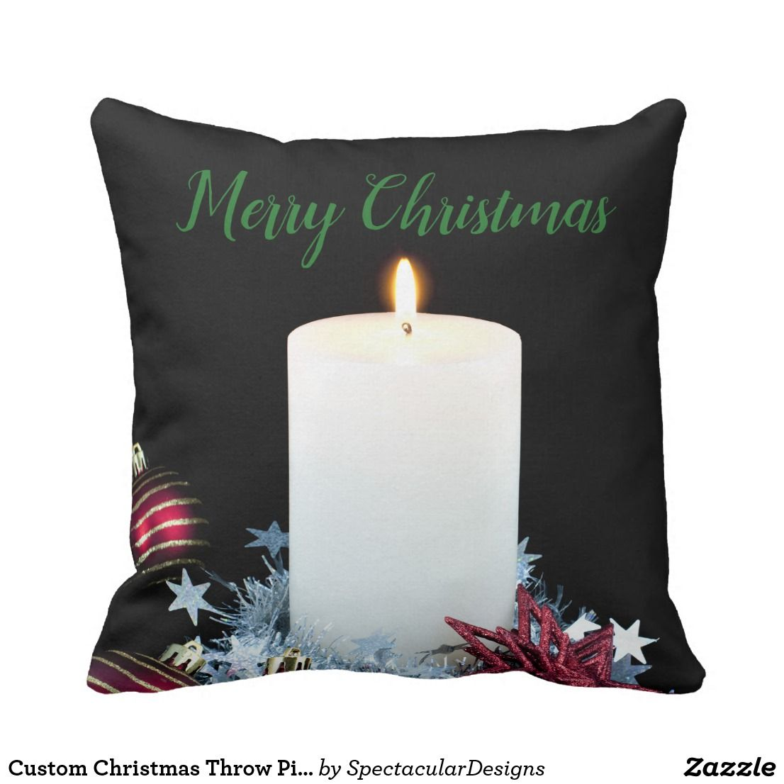 Custom christmas throw pillow in all aboard for zazzle