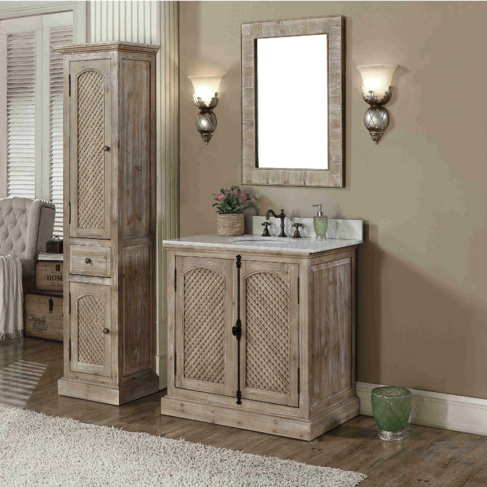 Rustic Style Carrara White Marble Top 36inch Bathroom