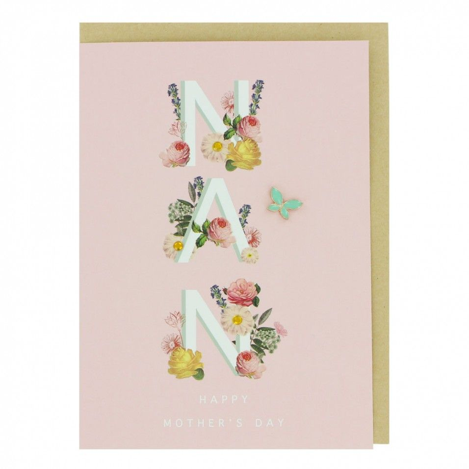 Floral lettering nan mothers day card mothers day cards