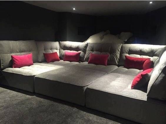 Couch And Carpet Flooring Are Perfect Diy Movie Theater Room Home Theatre Rooms Bat