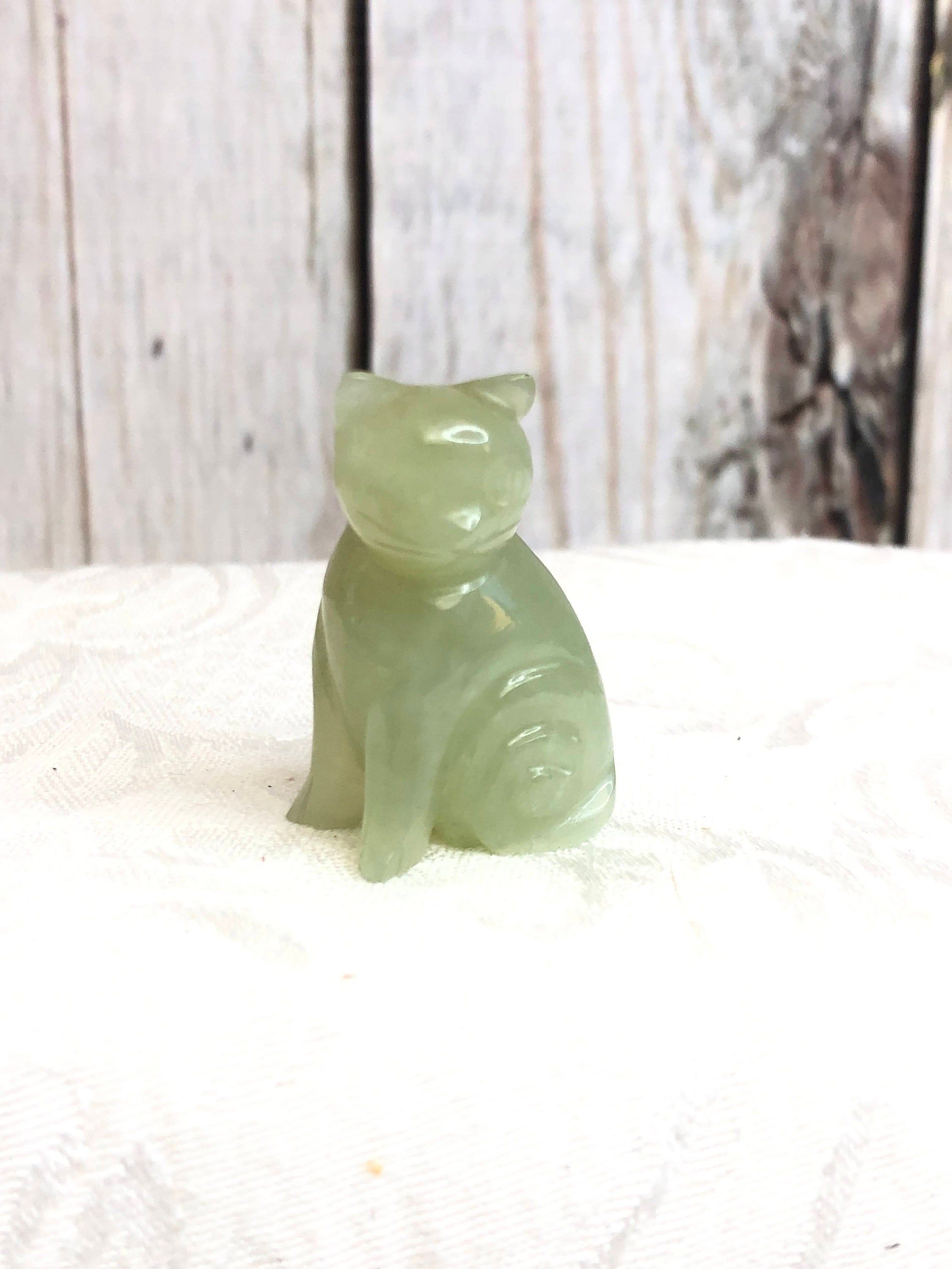 Vintage Carved Jade Cat Gemstone Light Green Kitty Kitten Hand Etsy In 2020 Jade Carving Gemstones Unique Items Products