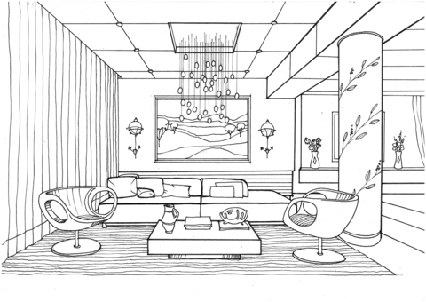 Living Room with Fireflies Coloring page | Malvorlagen