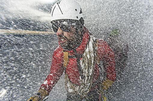 Trekking in a blizzard in the Austrian Alps