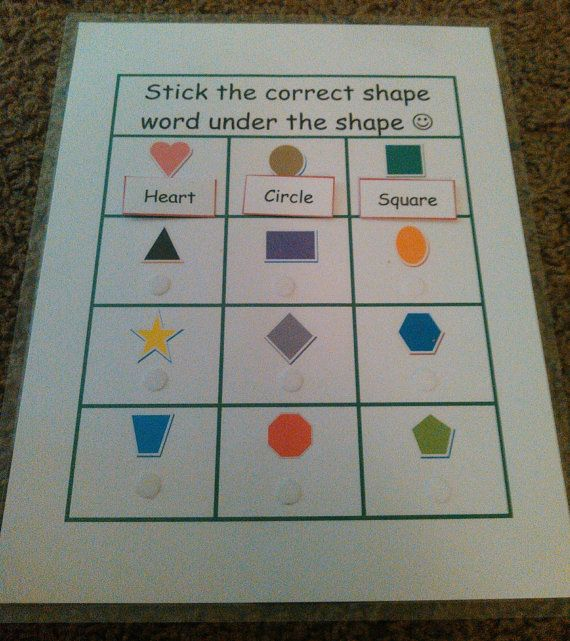 Shapes Busy Book Page Quiet Book Page VELCRO By